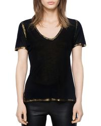 Zadig & Voltaire Tino Gold Foil Trimmed Tee - Black