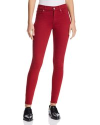 7 For All Mankind - Ankle Skinny Jeans In Lipstick Red - Lyst