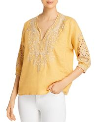 Johnny Was Kemi Embroidered Peasant Top - Yellow