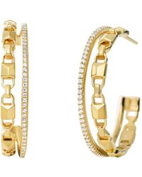 Michael Kors Mercer Link Double Row Sterling Silver Hoop Earrings In 14k Gold - Plated Sterling Silver - Metallic