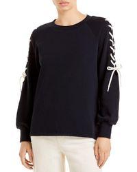 Alice + Olivia Charlotte Lace Up Sweatshirt - Black