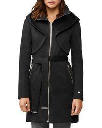 SOIA & KYO Arabella Zip - Up Hooded Rain Coat - Black