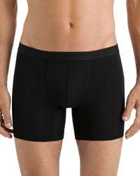 Hanro Cotton Essentials Long - Leg Boxer Briefs - Black
