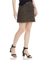 Aqua Frayed Leopard Print Denim Skirt - Brown