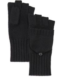 C By Bloomingdale's Ribbed Pop - Top Cashmere Gloves - Black