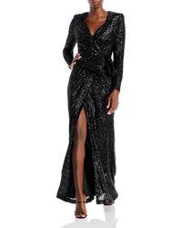 Eliza J Sequined Wrap Gown - Black