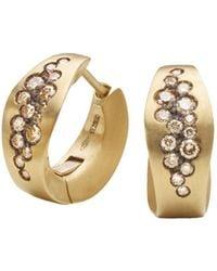 Antonini - Matte 18k Yellow Gold Matera Cognac Diamond Earrings - Lyst