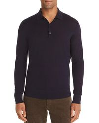 Bloomingdale's Long - Sleeve Knit Classic Fit Polo Shirt - Blue
