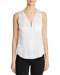 Go> By Go Silk Mixed Media Zip Top - White