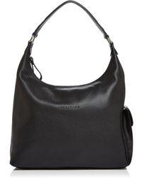 Longchamp Le Foulonne Leather Hobo - - Black