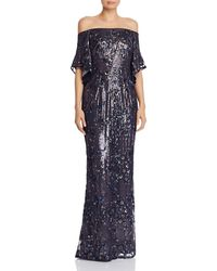 8459aea273a Aidan Mattox - Embellished Off - The - Shoulder Gown - Lyst