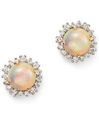 Bloomingdale's - Opal And Diamond Halo Stud Earrings In 14k Yellow Gold - Lyst