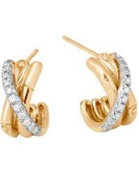 John Hardy - 18k Yellow Gold Bamboo Pavé Diamond J Hoop Earrings - Lyst