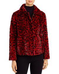 Maximilian Leopad Print Mink Fur Coat - Red