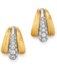 Marco Bicego 18k Yellow & White Gold Lucia Diamond Stud Earrings - Metallic
