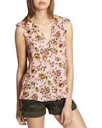 Sanctuary - Craft Split-back Floral Print Top - Lyst