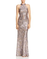 Aqua - Sequined Damask Gown - Lyst