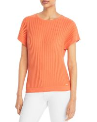 T Tahari Ribbed Short Sleeve Top - Orange