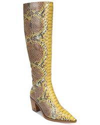 Sam Edelman - Lindsey Knee-high Snakeskin-embossed Leather Boots - Lyst