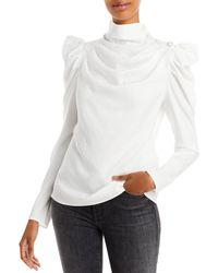 Aqua Mock Neck Puff Sleeve Top - White