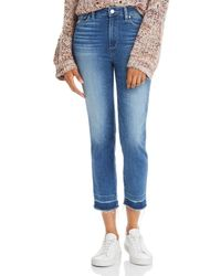 PAIGE Hoxton Slim Cropped Released Hem Jeans In Plaza - Blue
