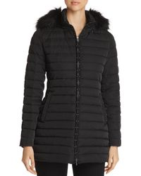 Emporio Armani Studded Faux Fur-trimmed Puffer Coat - Black