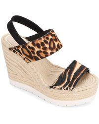 Kenneth Cole Olivia Animal Print Espadrille Platform Sandals - Multicolour