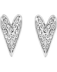 Karl Lagerfeld Pyramid Heart Earrings - Metallic