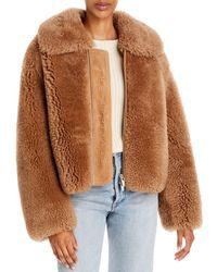 The Arrivals Kala Shearling Zip Front Coat - Natural