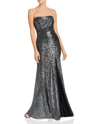 Betsy & Adam Strapless Sequin Gown - Black