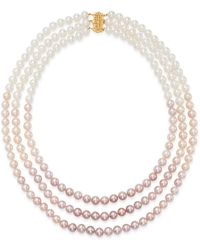 Bloomingdale's Cultured Freshwater Pearl Three - Strand Gradient Necklace - Pink