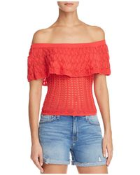 Guess - Amina Pointelle Off-the-shoulder Top - Lyst
