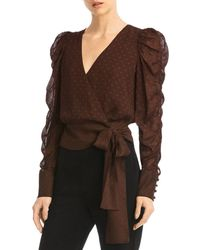 Bailey 44 Cyndi Puff - Sleeve Wrap Top - Brown