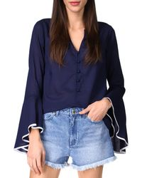 MICHAEL Michael Kors Cotton Flounce Sleeve Top - Blue