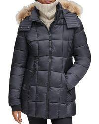 Marc New York Riverdale Faux Fur Trim Hooded Puffer Coat - Black