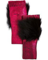 Jocelyn Fox Fur Trim Metallic Fingerless Gloves - Pink