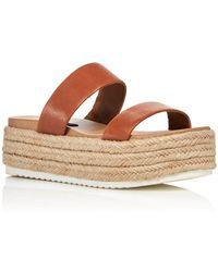 Aqua Women's Ayden Platform Espadrille Slide Sandals - Brown