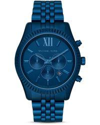 Michael Kors Mk Oversized Lexington Navy-tone Aluminum Watch - Blue