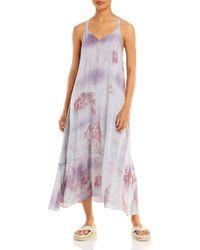 Lucy Paris Stevie Tie Dye Asymmetrical Dress - Purple