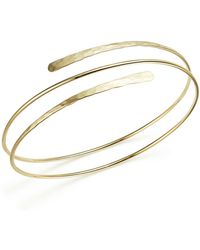 Bloomingdale's 14k Yellow Gold Double Hammered Overlap Cuff - Metallic