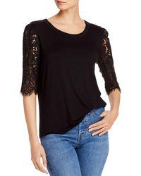 Kim & Cami Lace - Sleeve Knit Top - Black