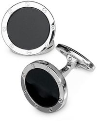 Jan Leslie Sterling Silver And Onyx Round Cufflinks - Black