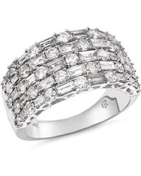 Bloomingdale's Five Row Diamond Baguette & Round Ring In 14k White Gold