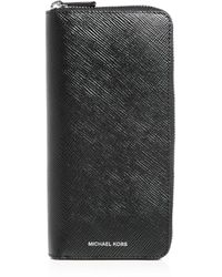 Michael Kors Henry Tech Leather Continental Wallet - Black
