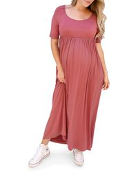 Ingrid & Isabel Elbow - Sleeve Maxi Maternity Dress - Red