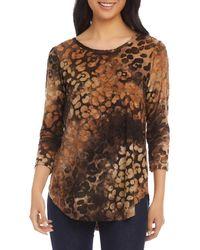 Karen Kane Tie Dyed Burn Out Shirt - Brown