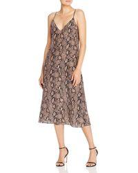 FRAME - Snake Print Silk Slip Dress - Lyst