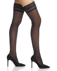 DKNY Lace - Trim Sheer Thigh - Highs - Black