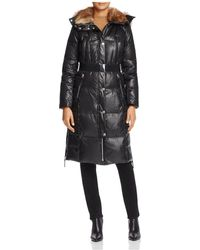 Marc New York - Liz Belted Faux Fur Puffer Coat - Lyst
