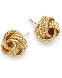 Bloomingdale's - 14k Yellow Gold Twisted Love Knot Earrings - Lyst